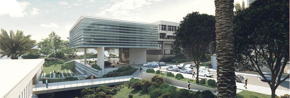 מבט מדרום לבניין החדש. לקומה התת-קרקעית תהיה כניסה ישירה (הדמיה: סטודיו aiko)