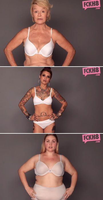 לנשים אמיתיות יכולים להיות קימורים, קמטים או שרירים (צילום: FCKH8.com, מתוך יוטיוב)