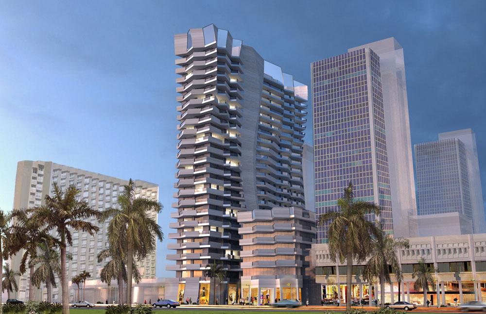 קוראים לזה מגדל Waves, והוא רוכב על בית גיבור תוך תוספת 8 קומות ושינוי דרמטי בחזיתות: במקום מבנה מלבני מאופק, גלים ואצבעות נשלחות לצדדים. משמאל, מלון דן פנורמה (הדמיה: StudioLibeskind)
