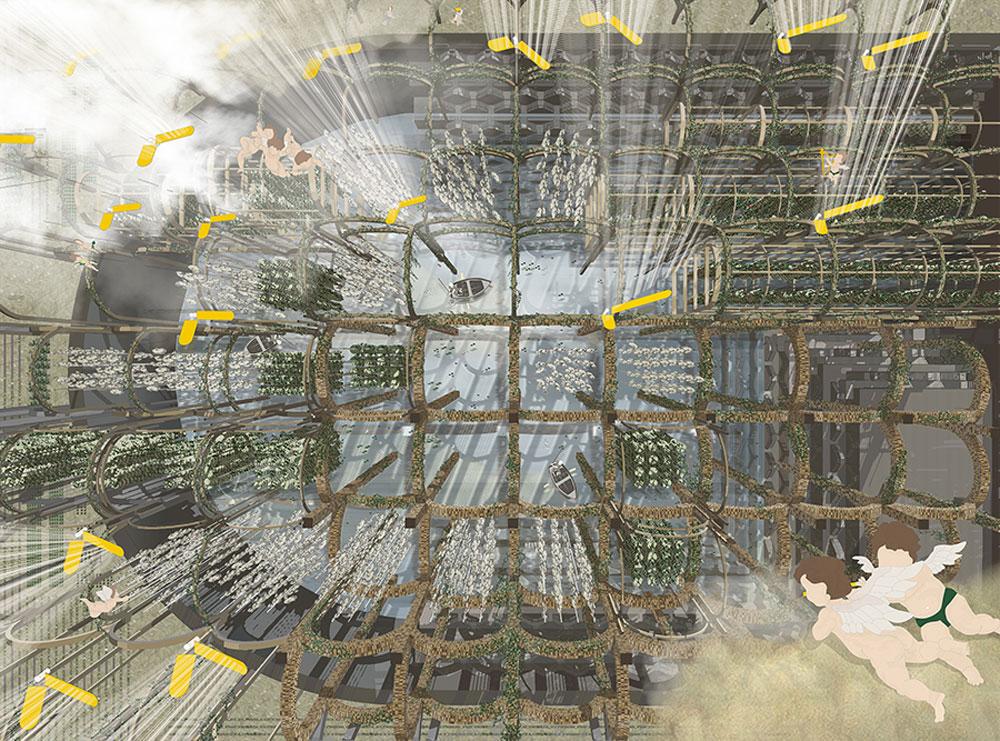 מתוך הפרויקט: בארות מדורגות, מבט פרספקטיבי מרהיב ממעוף יונת השלום ומלאכי השלום (לורן פרסלה)