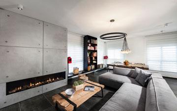 מול הספה קיר שכוסה בלוחות בטון ובתוכו קמין מודרני (צילום: אלעד גונן)