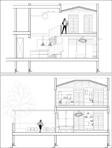 חתכי צד של הדירה (תכנית: אדריכלית עדי ארונוב)