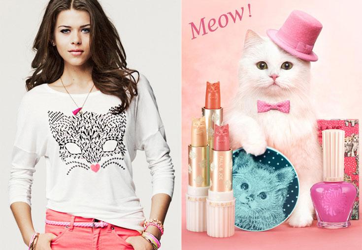 חתולים בקמפיין מוצרי הטיפוח של פול אנד ג'ו (מימין) וכהדפס על חולצה של H&M. האביזר האופנתי הכי חם של 2012
