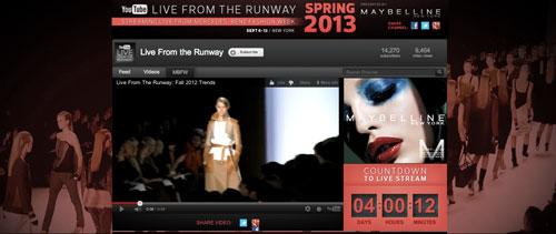 ערוץ היוטיוב Liverunway. שידורים חיים של תצוגות אופנה