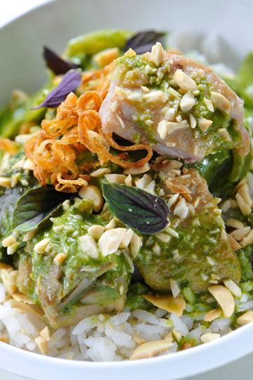 עוף בקארי תאילנדי ירוק עם אורז בחלב קוקוס  (צילום: דודו אזולאי)