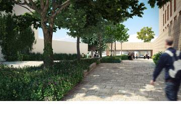 הכניסה לבניין, דרך החצר השקועה (הדמיה: קולקר קולקר אפשטיין אדריכלים, 1991, בעמ , באדיבות שיכון ובינוי)