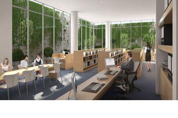 הספרייה, שתפנה לחצר אנגלית (הדמיה: קולקר קולקר אפשטיין אדריכלים, 1991, בעמ , באדיבות שיכון ובינוי)