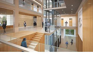 האטריום המרכזי המחבר בין הקומות (הדמיה: קולקר קולקר אפשטיין אדריכלים, 1991, בעמ , באדיבות שיכון ובינוי)
