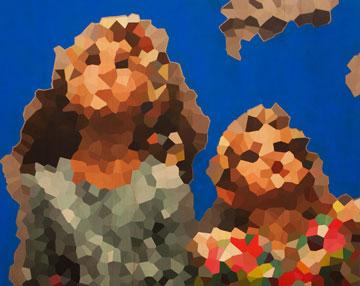 אקריליק וצבעי מים על עץ. עבודה נוספת בתערוכה (צילום: ענבל מרמרי)