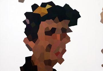 מתוך התערוכה. ציורים מפוקסלים (צילום: ענבל מרמרי)