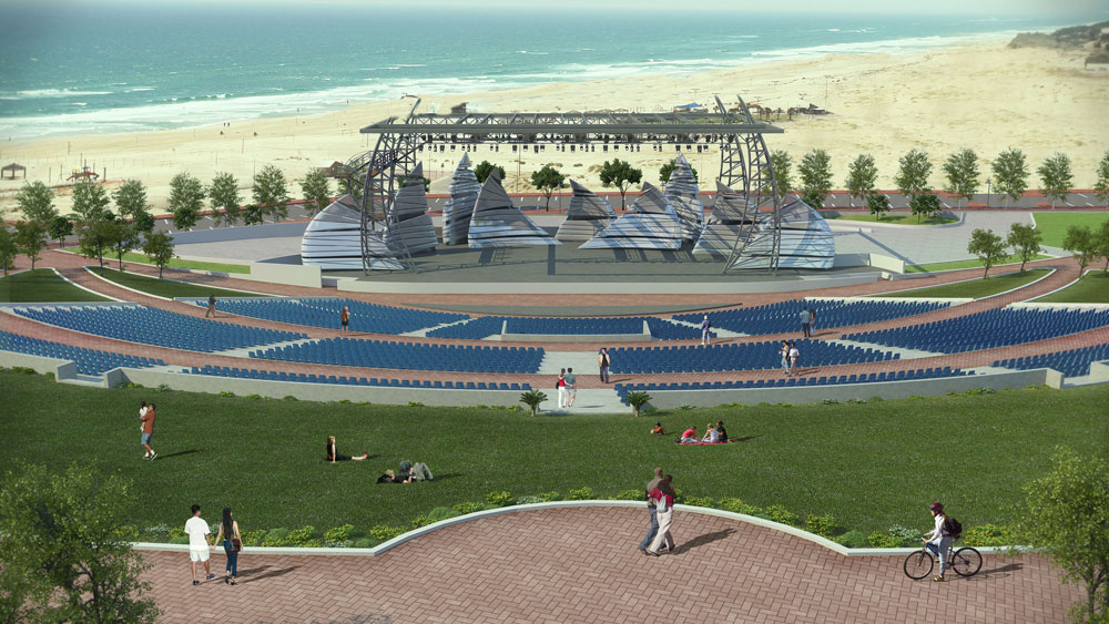 הפארק החדש של אשדוד יכלול אמפיתיאטרון עם 8.000 מושבים. 200 דונם של מרחב ציבורי חדש (הדמיה: משרד גדעון שריג אדריכלות נוף )