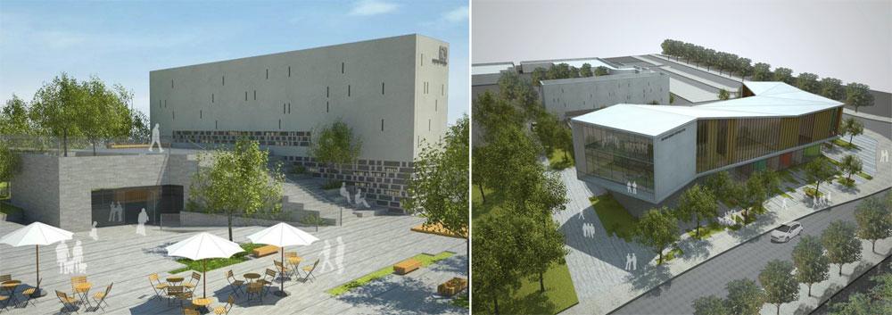 דוגמה מעניינת למבנה ציבורי גדול בשכונה פרוורית, ולא במרכז העיר. המרכז הקהילתי והספרייה שיקומו ב''רחובות החדשה'' (הדמיה: אדריכלים קימל אשכולות באדיבות עריית רחובות)
