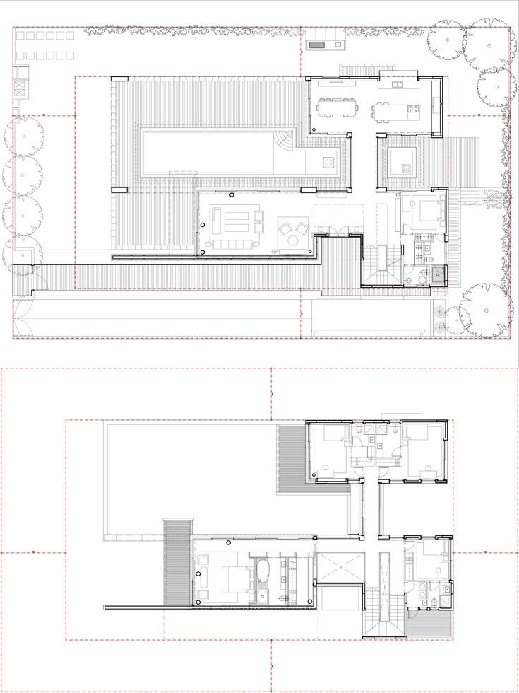 תוכניות הבית, שמזכיר ממבט על את צורת האות H. למעלה: קומת הכניסה. הבריכה נמצאת בין הסלון למטבח. למטה: קומת המגורים. גשר חוצה אותה לשניים - שני חדרי שינה בכל צד (באדיבות גל מרום אדריכלים)