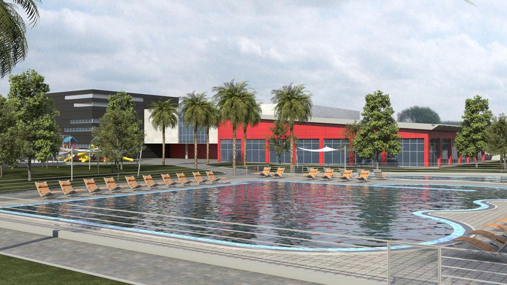 מרכז הספורט שעומד לקום בראשון לציון מערב, סמוך למכללה למינהל, ובו בריכת שחייה, מתקנים שונים ומדשאות רחבות ידיים (באדיבות עיריית ראשון לציון)