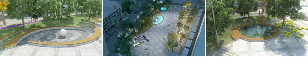 נתניה מנסה לשקם את מרכז העיר המוזנח, בפרויקט שכולל את רחוב הרצל, הקמת כיכר ''אינטראקטיבית'' עם מסכי לד, מזרקות ועוד (תכנון: ישי וילסון ארכיטקטורה)