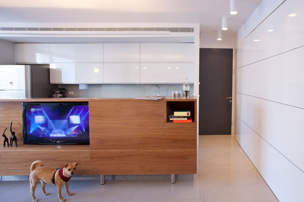 מימין: ארון קיר בהיר ומבריק מפריד בין הסלון לחדר ההורים. הארון הוא דו צדדי וכולל דלת לחדר. הדלת האפורה שבצילום מובילה לאחד משני החדרים החדשים של הבנים (צילום: גידי בועז)
