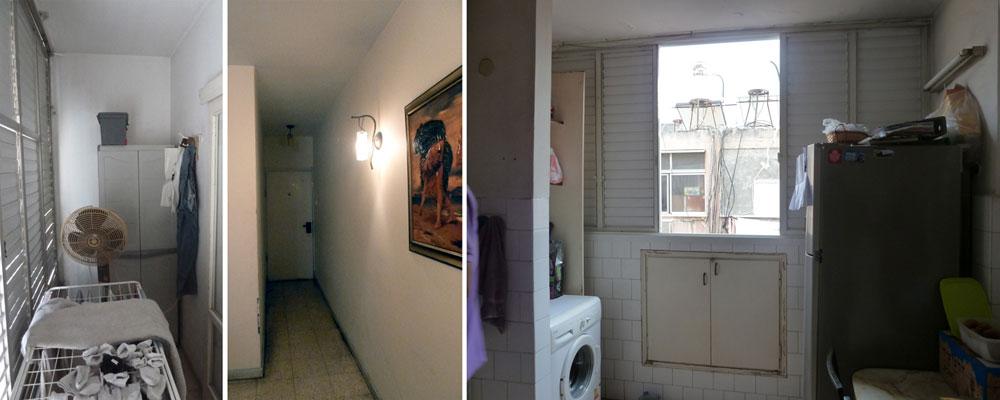 בני המשפחה גרים בדירה כבר 20 שנה. כך היא נראתה ''לפני'': המטבח (מימין), הכניסה הצפופה ומרפסת השירות (באדיבות עופר רוסמן)