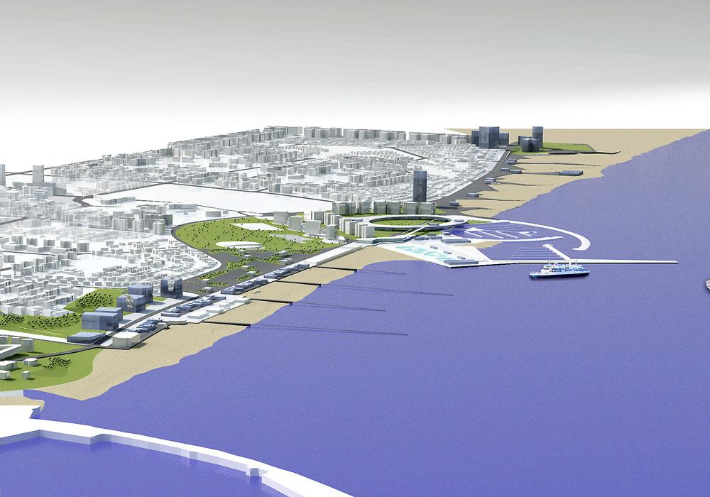 למעשה, זהו חלק מתוכנית אסטרטגית כוללת לפיתוח קו הים של אשדוד, בתכנון משרד ''מוריה סקלי'', ושמה ''מעיר ליד הים - לעיר ים'' (הדמיה: מוריה סקלי אדריכלות נוף)