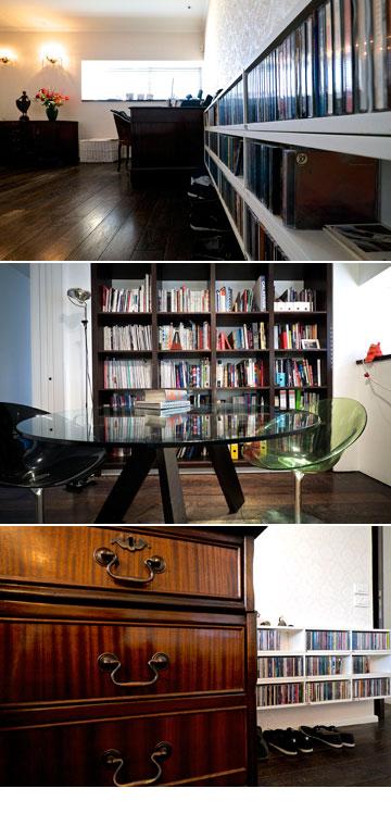 ''אני איש של אוספים''. ספרים ודיסקים בביתם של אלון ליבנה וגיל איילון (צילום: איתי סיקולסקי )
