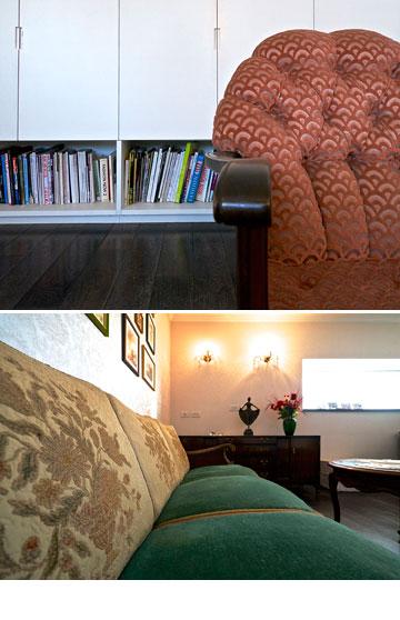 הספות בדירה של אלון ליבנה (צילום: איתי סיקולסקי )