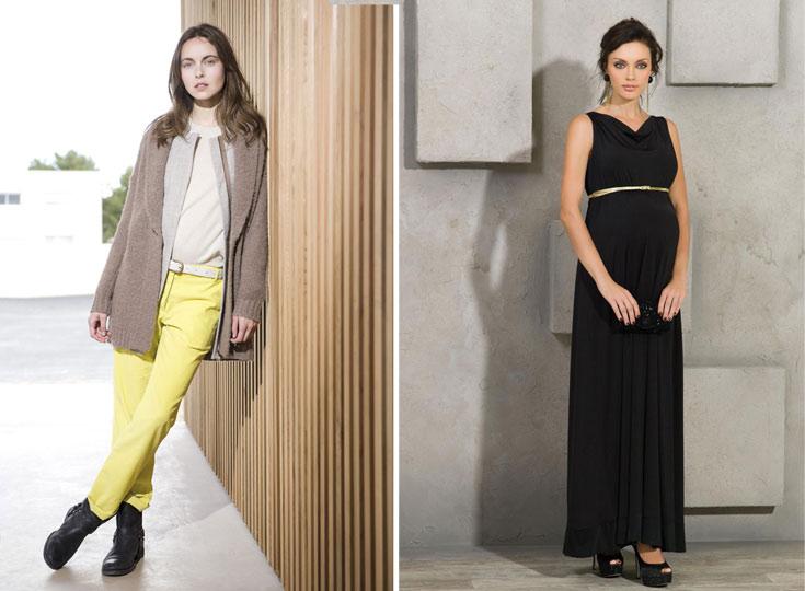 שמלת היריון של רמי לי (מימין) וקרדיגן גדול של אמריקן וינטג'. לכל חודש יש את הבגד שלו (צילום: יקי הלפרין)