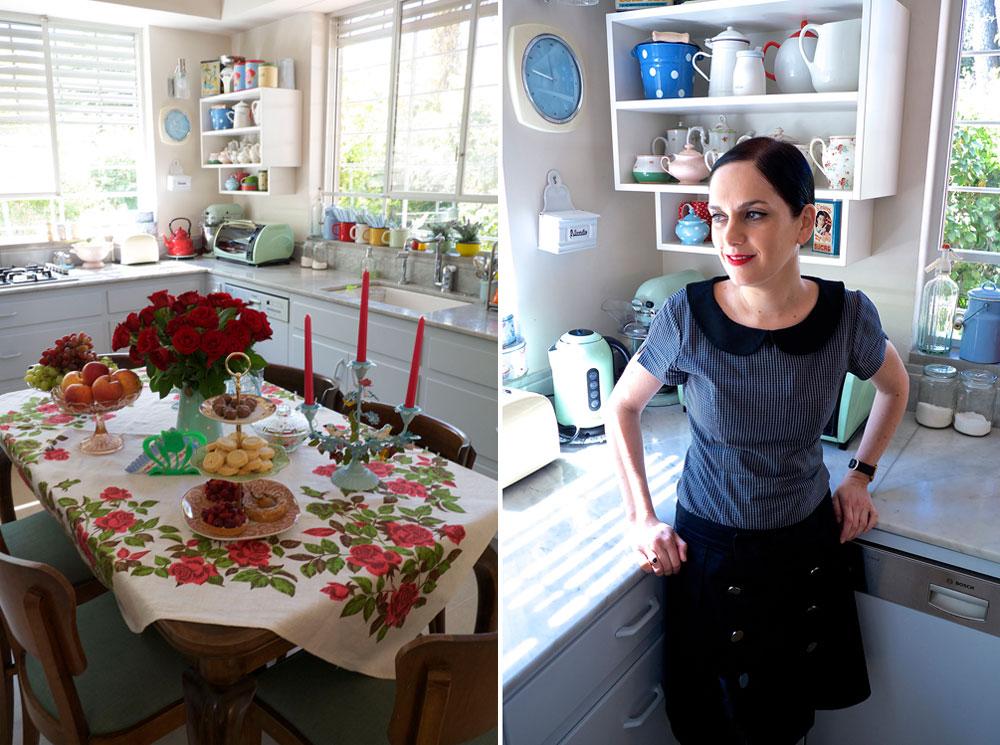 נעמה בצלאל במטבח ביתה. כל פינה בבית קורצה מה-DNA המוכר של המעצבת  (צילום: איתי סיקולסקי)