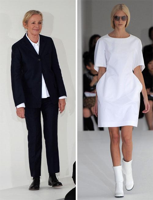 תצוגת האופנה לאביב-קיץ 2013 (מימין) והמעצבת ז'יל סנדר. מלכת המינימליזם (צילום: gettyimages)