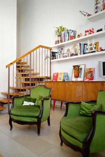 ''חלק מהרהיטים בבית, כמו שתי הכורסאות הירוקות בסלון, הם ירושה מסבא וסבתא שלי, שהלכו איתם מגרמניה לצרפת ואז לישראל'' (צילום: איתי סיקולסקי)