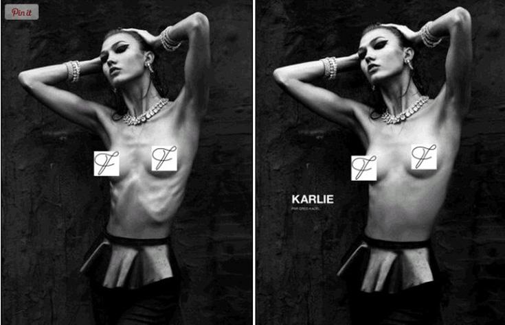 קרלי קלוס בהפקת האופנה של מגזין Numero, אחרי (מימין) ולפני פוטושופ. במגזין החליטו לעבות במקצת את הדוגמנית