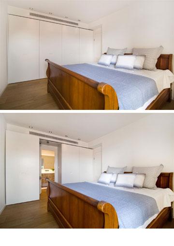בחדר השינה מיטת הכלולות הגדולה שהובאה מניו יורק, וקיר ארונות שמסתיר את דלת הכניסה לחדר הרחצה הצמוד (צילום: אביב קורט)