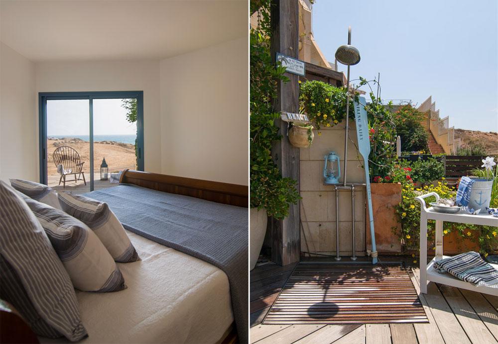 מימין: מקלחת החוף שהותקנה בגינה, ומיועדת למי שעושה את דרכו בחזרה מהים לבית. משמאל: חדר השינה עם מרפסת המשקיפה לים, שהיא למעשה גג הפרגולה שבגינה מתחת (צילום: אביב קורט)