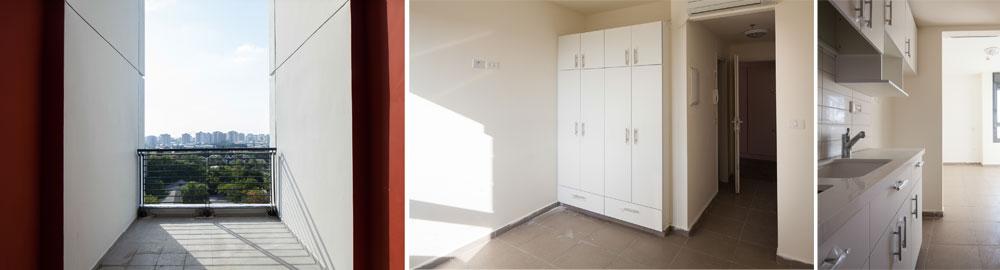 דירה לדוגמה: כ-20 מ''ר נטו הוא שטחה של דירת יחיד (רוב הדירות כאלה, כי התברר שהסטודנטים מעדיפים פרטיות), עם מטבחון, פינת עבודה, טלוויזיה וחיבור לכבלים ולאינטרנט שכלול במחיר (צילום: טל ניסים)