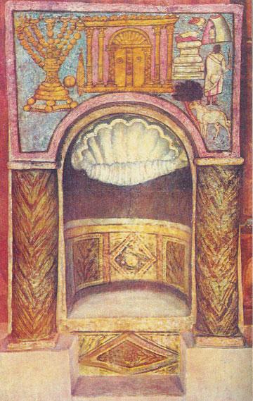 חזית המקדש כפי שמופיעה בעיטור מעל גומחת ארון הקודש בבית הכנסת דורה אירופוס בסוריה (צילום: National Museum in Damas, cc)