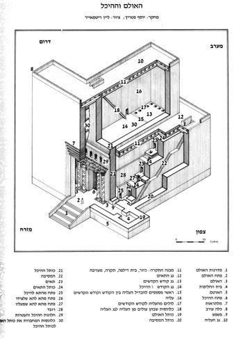 משמאל חזית המקדש הנקייה מעיטורים, ומימין חתך המבנה (איור: עידן רבינוביץ' וליין ריטמאייר , בהנחיית יוסף פטריך)