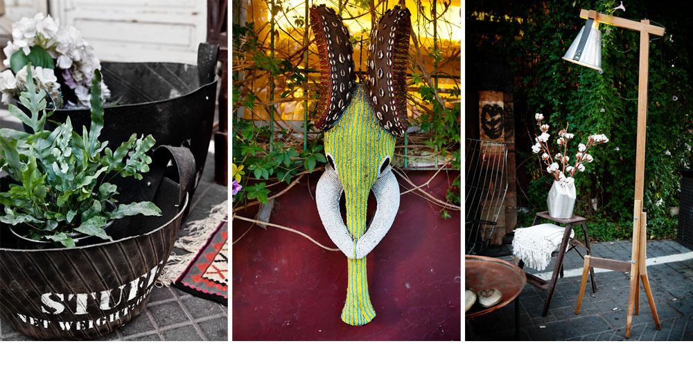 מימין: מנורת עץ עומדת בעיצוב עדי זפרן (''אסופה''). במרכז: ראש פיל עם רקמת חרוזים מקמרון (''אפרו''). משמאל: עציצים מצמיגים ממוחזרים (''one bedroom'') (צילום: ענבל מרמרי)
