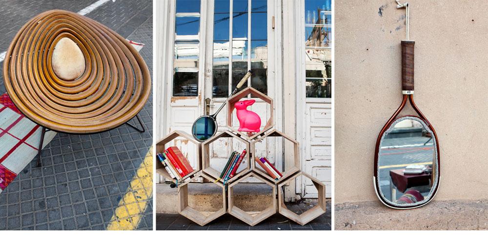 מימין: מראה בצורת מחבט (''מעשיה''). במרכז: כוורת עומדת או תלויה (''מעשייה'') ומנורת ארנב ורודה (''סופי''). משמאל: כורסה ''מקופלת'' בעיצוב ניסים פורת (צילום: ענבל מרמרי)