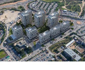הדמיה של הפרויקט, כפי שייראה מהאוויר (תכנון: ד.קייזר מ.קייזר א.לקנר אדריכלים ומתכנני ערים)