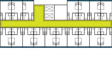 תוכנית קומה: מסדרון ארוך וחדרים משני הצדדים (תכנון: ד.קייזר מ.קייזר א.לקנר אדריכלים ומתכנני ערים)