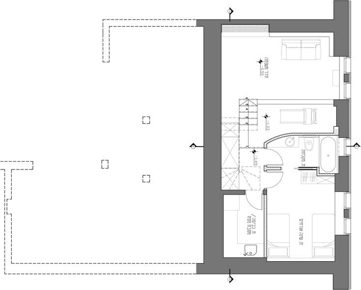 תוכנית קומת המרתף: חדר אורחים, חדר רחצה, חדר משפחה נוסף וחדר כביסה. לבני הזוג ילדים בארץ ובארצות הברית (באדיבות מתי רוזנשטיין)