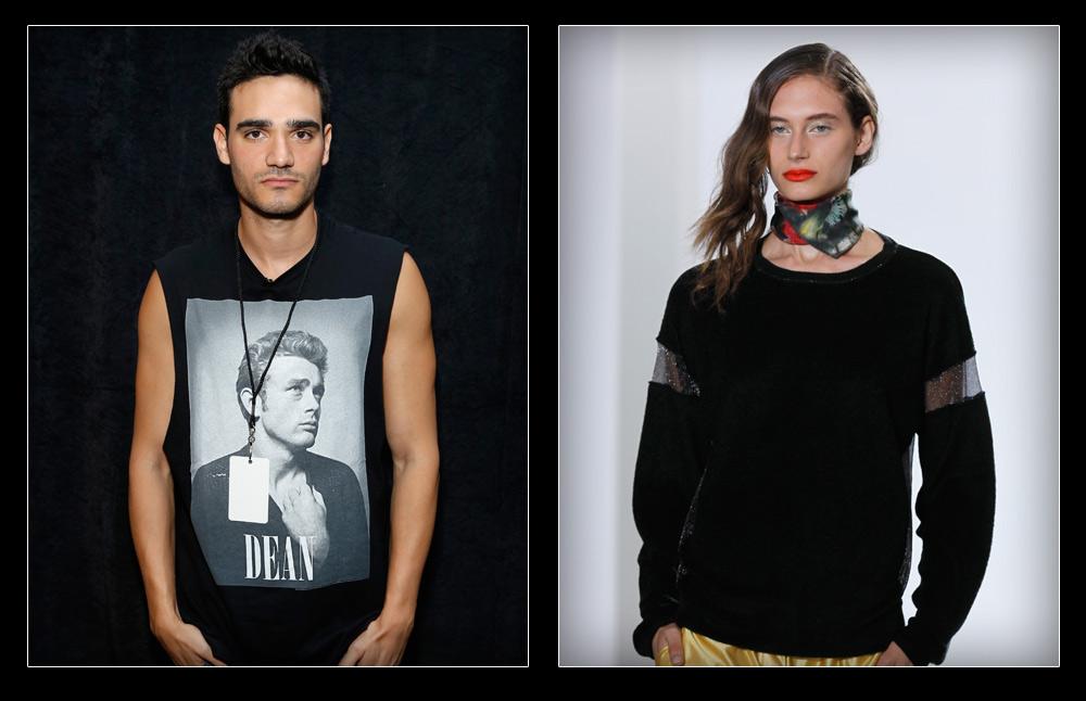 רגעי הגאווה של תעשיית האופנה המקומית: הדוגמנית נועם פרוסט (מימין) ומעצב האופנה אלון ליבנה (צילום: gettyimages)