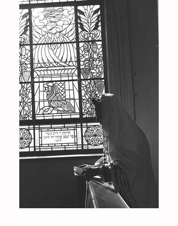 מתפלל על רקע אחד הוויטראז'ים בבית הכנסת הגדול (צילום: משה פרידן, לע''מ)