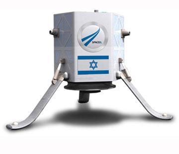 החללית שעיצב הצוות הישראלי לתחרות שהזניק גוגל, על נחיתה של רכב לא מאויש על הירח (באדיבות סטודיו פדואה)