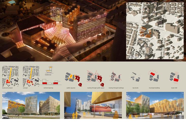 כך אמור להיראות המרכז החדש של העיר, שיכלול את בית העירייה, מרכז מוזיקה, מתחם משרדים ומגורים (באדיבות עיריית חולון, Vera Yanovshtchinsky architecten BV Den Haag)