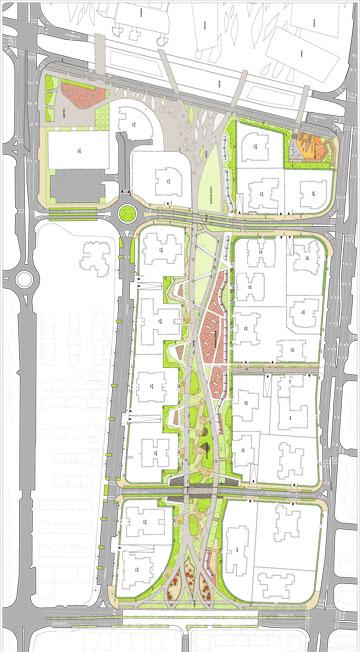 """השדרה (בירוק) בלב המתחם המתוכנן (תכנית: באדיבות עיריית חולון, ברוס לוין אדריכלים,תב""""ע מן שנער אדריכלים)"""