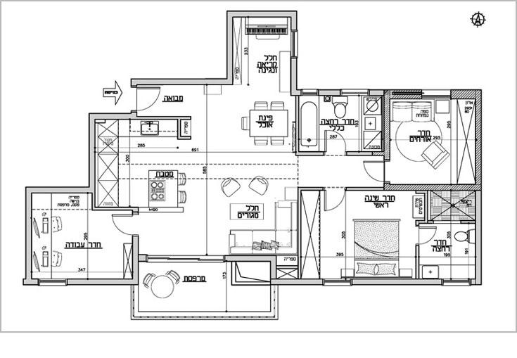 תוכנית הדירה, לאחר שהתאמה לצרכי הדיירים (תכנית: ליאת עברון)
