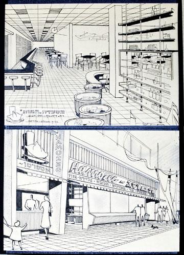 """הדמיה שיצר משולם בשנות ה-50 למסעדת """"המוזג"""" שעיצב (צילום: ענבל מרמרי)"""