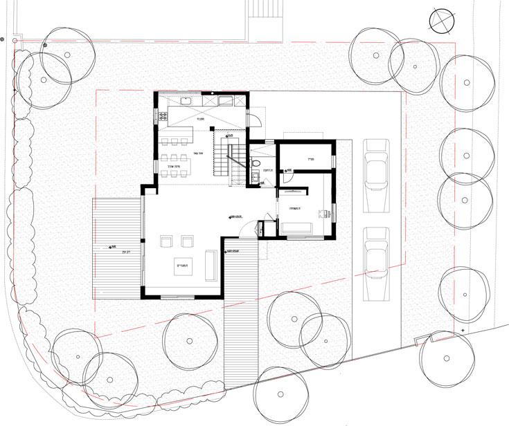 """תוכנית קומת הקרקע: סלון, מטבח, פינת אוכל, חדר משפחה/אורחים, ממ""""ד וחדר רחצה (תכנית: 'גלעד-שיף אדריכלות' )"""