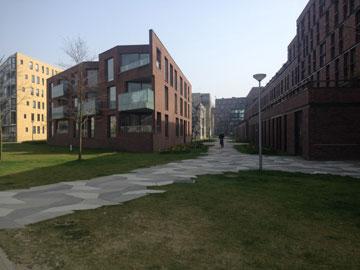 פרויקט het funen באמסטרדם. הדירות המוזלות מהוות חיץ בין הדירות היקרות למסילת הרכבת (צילום: נעמה ריבה)