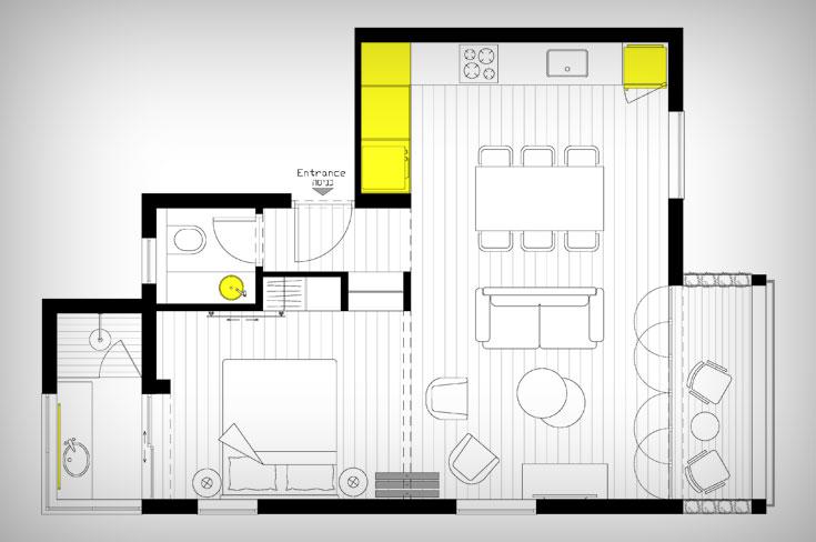 ו''אחרי'': המטבח הפך לחדר שינה, מרפסת השירות לחדר רחצה, הסלון הרוויח שטח, והמרפסת שלצדו נפתחה אל הרחוב (תכנית: יוליה סטרוסלסקי)
