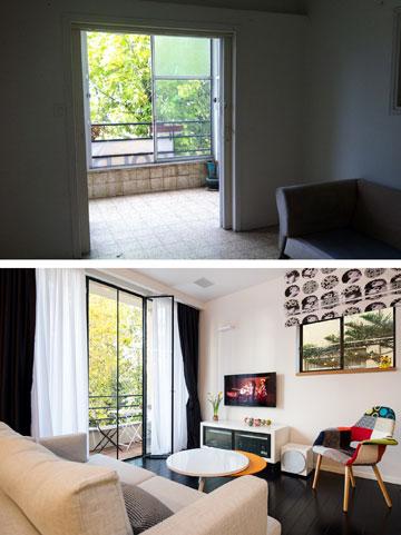 למעלה: הסלון הישן, עם המרפסת הסגורה. למטה: הסלון הורחב, המרפסת נפתחה אל הרחוב (צילום: אביב קורט)